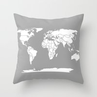 political Throw Pillows featuring A Political Map of the World by Catherine Holcombe