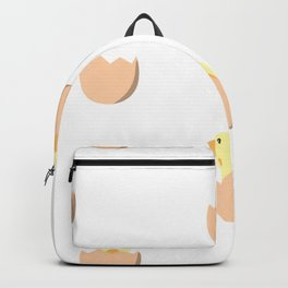 Seamless pattern with chickens in eggs Backpack