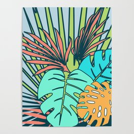 Tropical leaves blue Poster