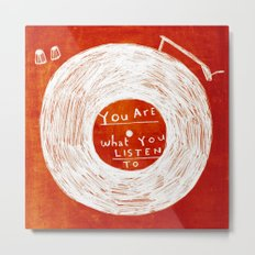 you are what you listen to, RED Metal Print