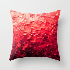 MERMAID SCALES 4 Red Vibrant Ocean Waves Splash Crimson Strawberry Summer Ombre Abstract Painting Throw Pillow