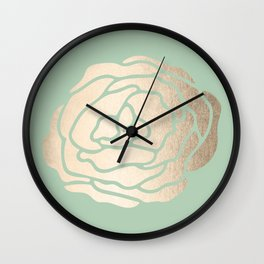 Rose White Gold Sands on Pastel Green Cactus Wall Clock