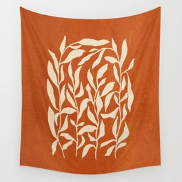 Cognac Leaves: Mid Century Terracotta Edition Wall Tapestry