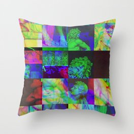 Poseidon Glitch 02 Throw Pillow