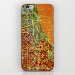 Chicago orange old map iPhone Skin