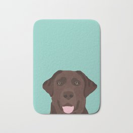 Chocolate Lab dog breed portrait pet art dog lover gifts labrador retriever Bath Mat