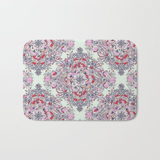 Floral Diamond Doodle in Red and Pink Bath Mat