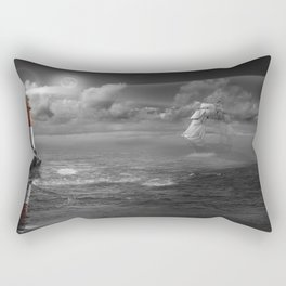 Lighthouse and Sailboat under moonlight Rectangular Pillow