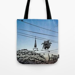 over smal trown the sunset Tote Bag