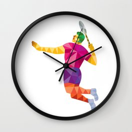 Badminton Player Jump Smash Low Polygon Wall Clock