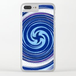 Blue swirl with polka dots Clear iPhone Case