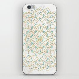 Marble Mandala Sea Shimmer Gold + Turquoise iPhone Skin