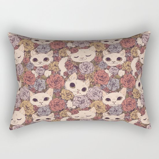Floral Cat Pattern Rectangular Pillow