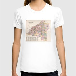 Vintage Map of Cleveland OH (1892) T-shirt