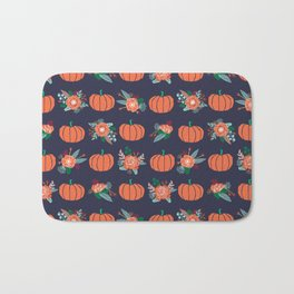 Pumpkin florals cute pattern pillow home decor dorm college seasonal fall autumn Bath Mat