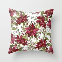 Poinsettia Flowers Throw Pillow