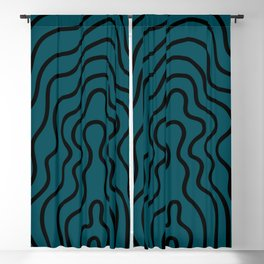 Music Line Vibes Petrol Blue Blackout Curtain