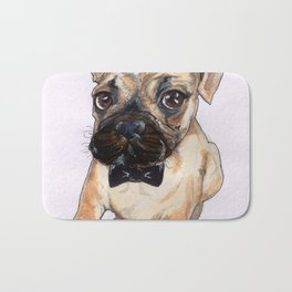 Frenchie With Bowtie Bath Mat