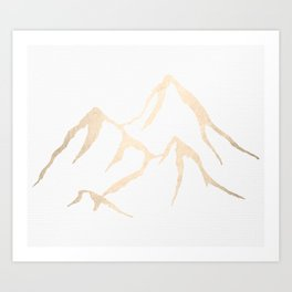 Adventure White Gold Mountains Art Print