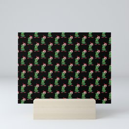 Otter Christmas Black Pattern Mini Art Print