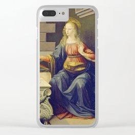 "Leonardo da Vinci ""Annunciation 2."" Clear iPhone Case"