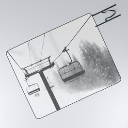Chairlift Abyss // Black and White Chair Lift Ride to the Top Colorado Mountain Artwork Picnic Blanket