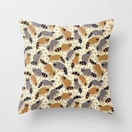 Adorable Racoon Friends, Animal Pattern in Nature Colors of Grey and Brown with Paw Prints Throw Pillow