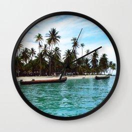 san blas tropical island Wall Clock