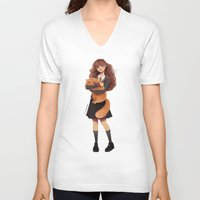 hermione V-neck T-shirts featuring Hermione by C. Cassandra