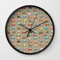 cars Wall Clocks featuring Cars by Marcelo Badari