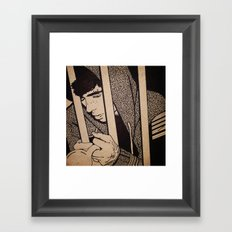 Drawing on wood Framed Art Print