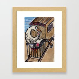 Goose in the Caboose Drinking Juice Framed Art Print