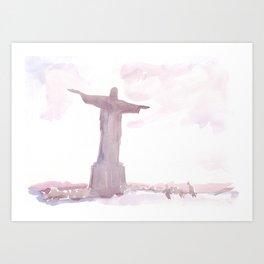 Watercolor landscape illustration_Rio Art Print