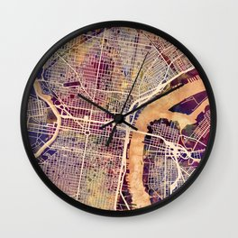 Philadelphia Pennsylvania City Street Map Wall Clock
