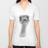 ostrich V-neck T-shirts featuring Cute Ostrich SK053 by S-Schukina