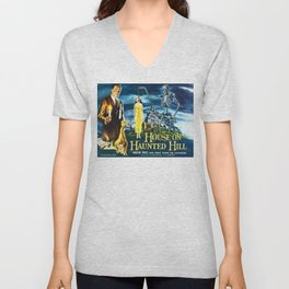 House on Haunted Hill, vintage horror movie poster Unisex V-Neck
