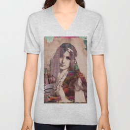 Vintage Woman Built By New York City 2 Unisex V-Neck