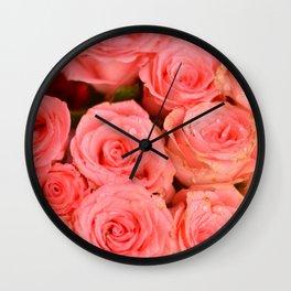 Beautiful Pink Roses Wall Clock