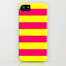 Bright Neon Pink and Yellow Horizontal Cabana Tent Stripes iPhone Case