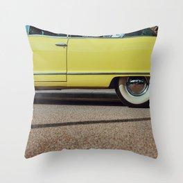 Retro yellow car Throw Pillow