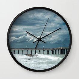 Storm over the pier of Miramar. Wall Clock