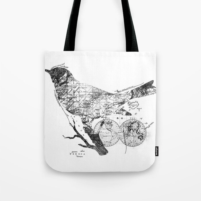 Bird Wanderlust Black and White Tote Bag