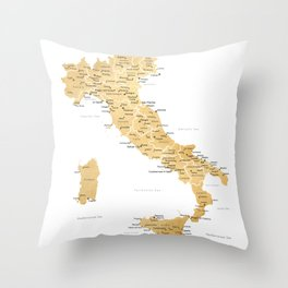 Map of italy with cities in gold - P Throw Pillow