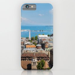 Switzerland Geneva Roof Marinas Cities Building Pier Berth Houses iPhone Case