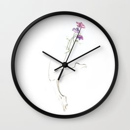 Sweet Pea, Drawing of Legs, Flowers, Curves, Purple, Art, Wall Art, Buy Art, Contour Lines, Abstract Wall Clock