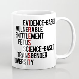 Donald Trump's seven banned words CDC: I RESIST 7 evidence-based vulnerable entitlement fetus Coffee Mug