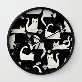 Bad Cats Knocking Things Over, Black & White Wall Clock