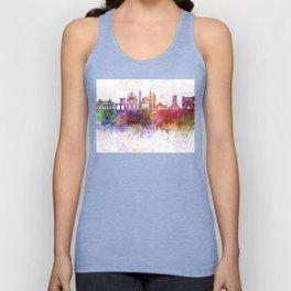 Algiers skyline in watercolor background Unisex Tank Top