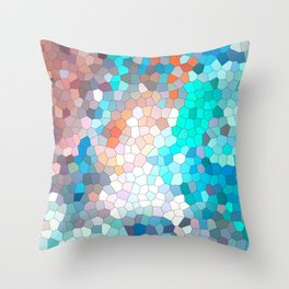 Colored red, blue, pink geometric mosaic Throw Pillow