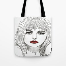Patsy with Red Lips Tote Bag